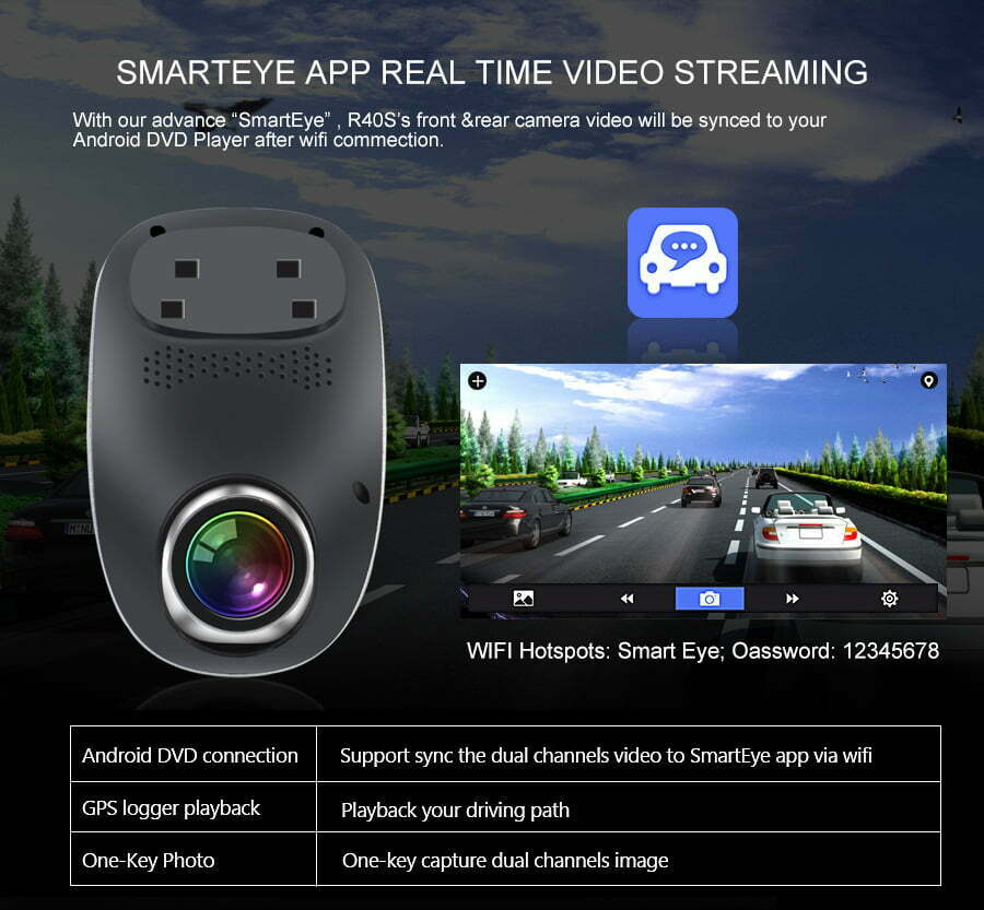 R40S 4G Dash Cam Car DVR Wifi GPS Camera Remote Monitor